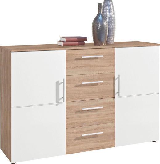 KOMMODE Eichefarben, Weiß - Eichefarben/Silberfarben, Design, Holzwerkstoff/Kunststoff (132/91/38cm) - Carryhome