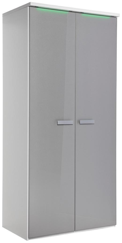 KLEIDERSCHRANK in Grau, Weiß - Alufarben/Weiß, Design, Glas/Holzwerkstoff (101,3/213,6/57,7cm) - Xora