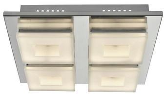LED-DECKENLEUCHTE - Chromfarben, Design, Kunststoff/Metall (28/7/28cm)