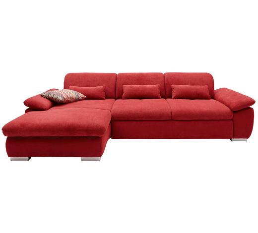 WOHNLANDSCHAFT in Textil Bordeaux - Chromfarben/Bordeaux, Design, Textil/Metall (200/292cm) - Hom`in