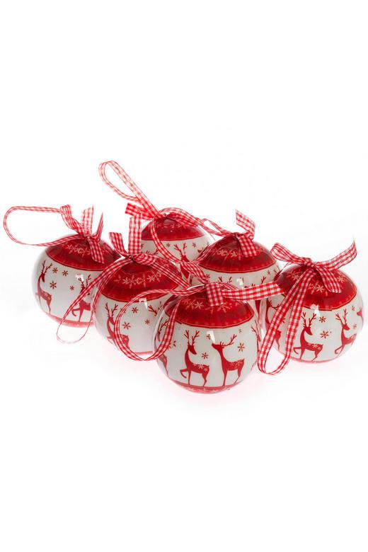 CHRISTBAUMKUGEL-SET  6-teilig Rot, Weiß - Rot/Weiß, Kunststoff (8cm)