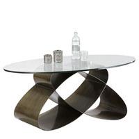 COUCHTISCH oval Bronzefarben - Bronzefarben, Design, Glas/Metall (117/47/70cm) - NOVEL