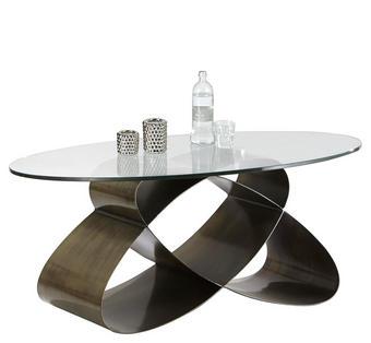 COUCHTISCH oval Bronzefarben - Bronzefarben, Design, Glas/Metall (117/70/47cm) - Novel