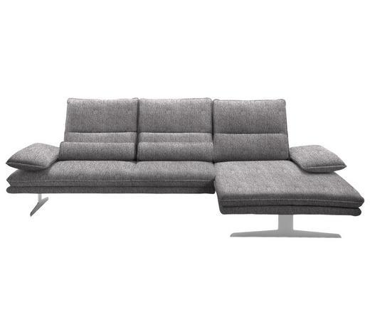 WOHNLANDSCHAFT in Textil Hellgrau  - Chromfarben/Hellgrau, Design, Textil (291/164cm) - Chilliano