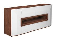 SIDEBOARD Nussbaum furniert Weiß, Nussbaumfarben  - Nussbaumfarben/Weiß, Design, Holz/Holzwerkstoff (200/90/52cm) - Ambiente