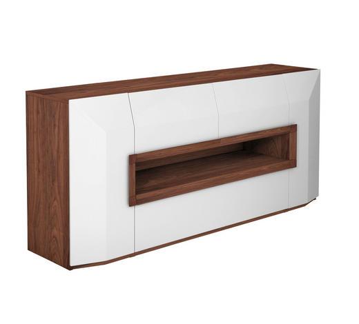SIDEBOARD Nussbaum furniert Hochglanz, lackiert Weiß, Nussbaumfarben  - Nussbaumfarben/Weiß, Design, Holz/Holzwerkstoff (200/90/52cm) - Ambiente