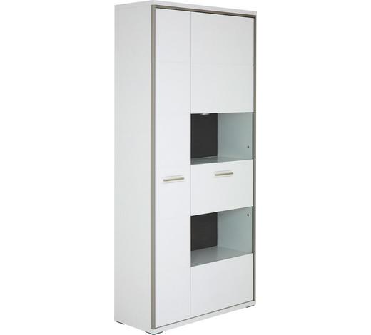 VITRINE  in Grau, Weiß, Edelstahlfarben - Edelstahlfarben/Weiß, Design, Glas/Holzwerkstoff (94/201/38cm)