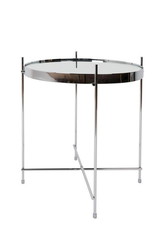 BEISTELLTISCH rund Silberfarben - Silberfarben, Design, Glas/Metall (43/45cm)