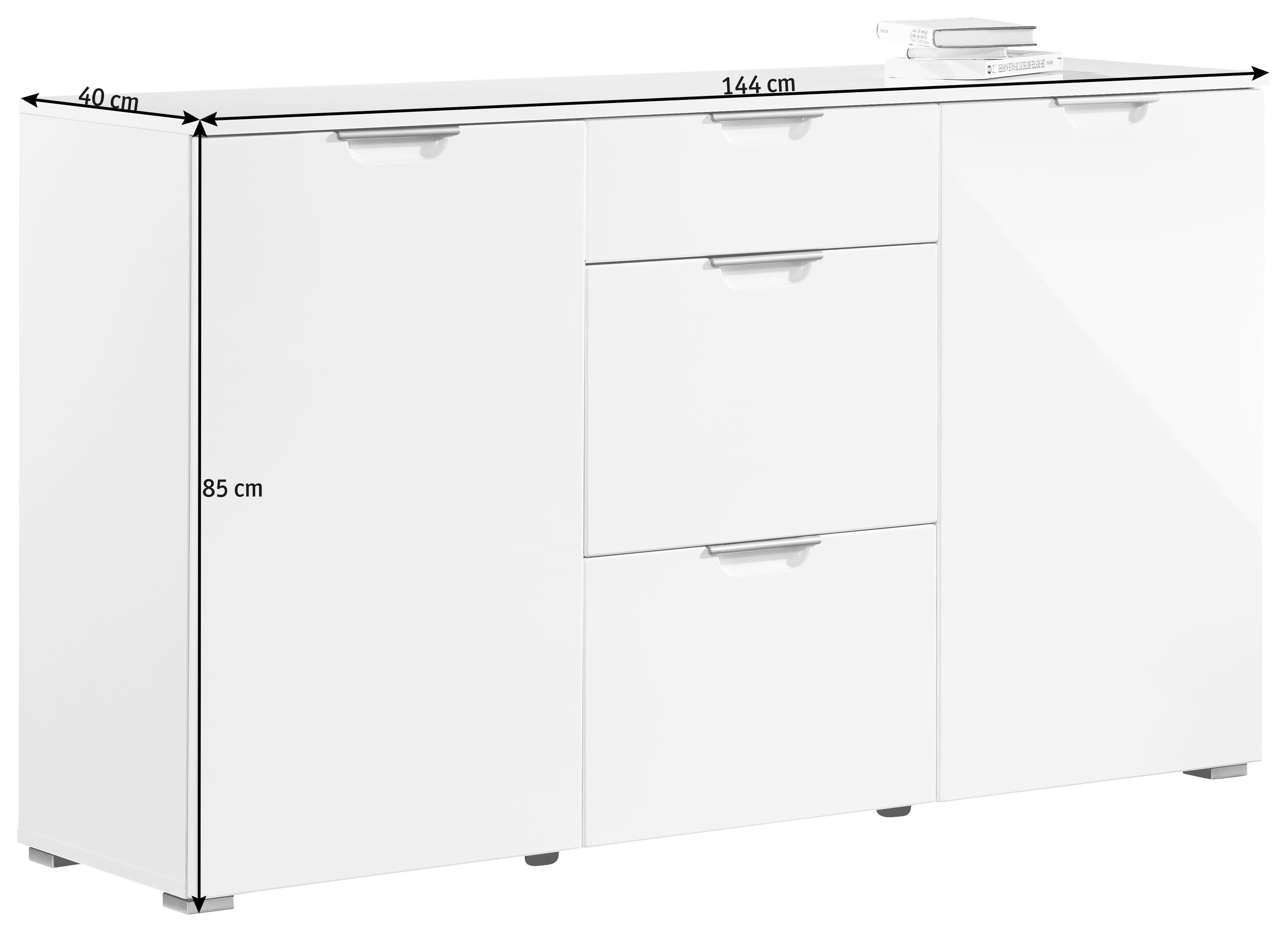 KOMMODE Weiß - Alufarben/Weiß, Design, Holz/Kunststoff (144/85/40cm) - XORA