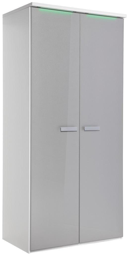 KLEIDERSCHRANK 2-türig Grau, Weiß - Alufarben/Weiß, Design, Glas/Holzwerkstoff (101,3/213,6/57,7cm) - Xora