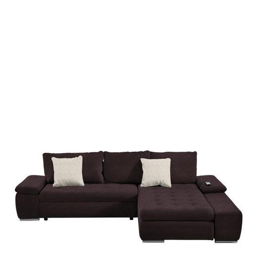 WOHNLANDSCHAFT Beige, Braun Rückenkissen, Schlaffunktion, Zierkissen - Chromfarben/Beige, Design, Kunststoff/Textil (300/200cm) - Hom`in