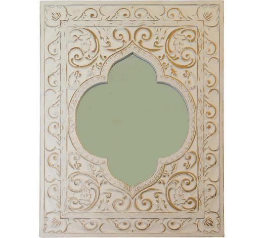SPIEGEL Tanne Weiß, Goldfarben  - Goldfarben/Weiß, Glas/Holz (80/60/2cm)