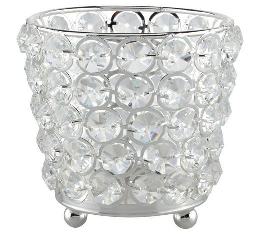 TEELICHTHALTER - Silberfarben, Basics, Glas/Metall (12/10cm) - Ambia Home