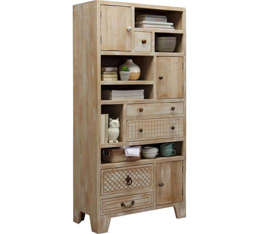 REGAL in 85/178/40 cm Naturfarben, Weiß  - Weiß/Bronzefarben, Trend, Holz/Holzwerkstoff (85/178/40cm) - Ambia Home
