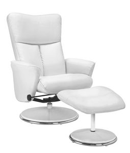 RELAXFÅTÖLJ - vit/silver, Design, metall/trä (75/100,5-88,5/84-111cm) - Premium Living