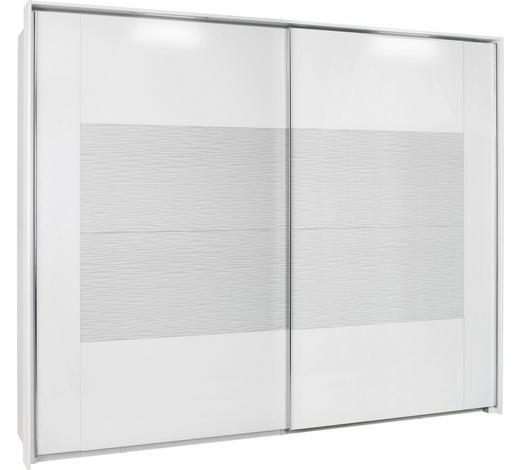 SCHWEBETÜRENSCHRANK in Weiß - Chromfarben/Weiß, Design, Glas/Holzwerkstoff (226/223/69cm) - Xora