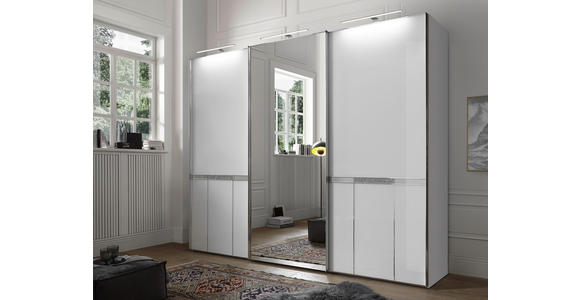 SCHWEBETÜRENSCHRANK in Weiß  - Chromfarben/Weiß, LIFESTYLE, Glas/Holzwerkstoff (280/222/68cm) - Dieter Knoll