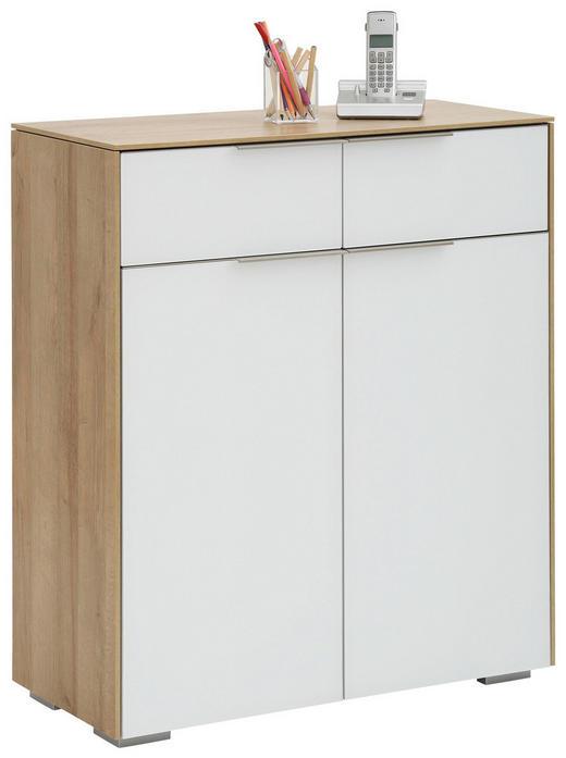 AKTENSCHRANK Eichefarben, Weiß - Eichefarben/Weiß, Design, Glas/Holzwerkstoff (80,8/92,3/37cm) - Voleo