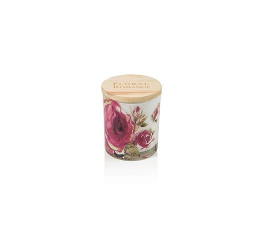 KERZE IM GLAS - Multicolor/Rosa, Basics, Glas/Holz (7,5/9cm) - Ambia Home
