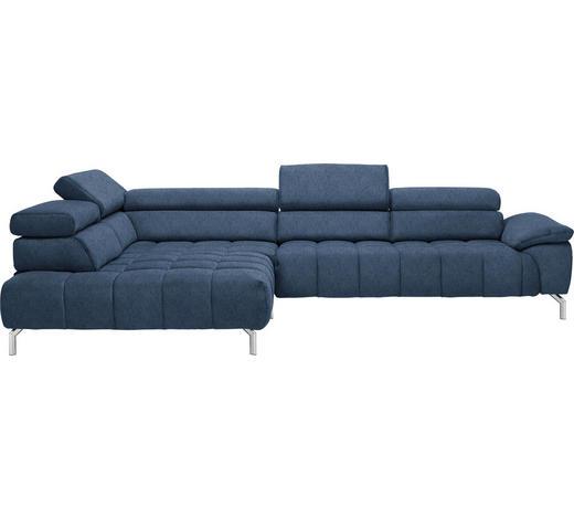 WOHNLANDSCHAFT in Textil Blau - Chromfarben/Blau, Design, Textil/Metall (222/323cm) - Beldomo Style