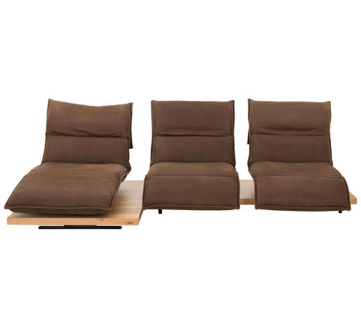 WOHNLANDSCHAFT Braun Echtleder  - Schwarz/Braun, Design, Leder/Holz (162/320cm) - Koinor