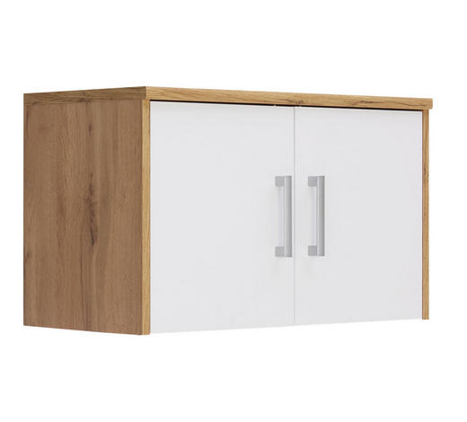 AUFSATZSCHRANK 72/43/36 cm Weiß, Eichefarben  - Eichefarben/Silberfarben, Basics, Kunststoff (72/43/36cm) - Xora