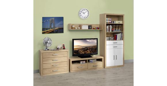 TV-ELEMENT Eiche massiv Eichefarben  - Eichefarben/Grau, KONVENTIONELL, Holz/Metall (130/45/42cm) - Linea Natura
