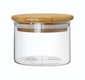 FÖRVARINGSBURK - klar/ljusbrun, Basics, trä/glas (9,5/7cm) - Homeware