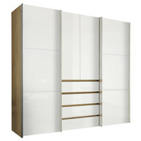 OMARA ZA OBLAČILA, bela, hrast - aluminij/bela, Design, kovina/leseni material (250/236/68cm) - HOM`IN