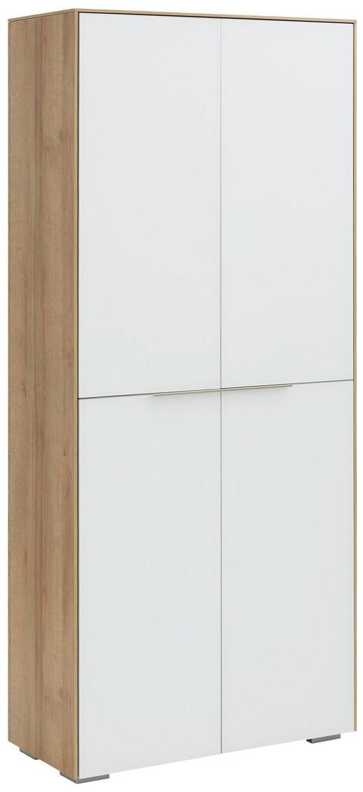 AKTENSCHRANK Eichefarben, Weiß - Eichefarben/Weiß, Design, Glas/Holzwerkstoff (80,8/181,6/37cm) - Voleo