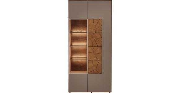 VITRINE in massiv Kerneiche Eichefarben, Fango - Fango/Eichefarben, Design, Glas/Holz (88,5/196/39cm) - Valnatura