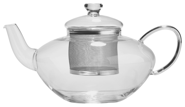 TEKANNA - klar/rostfritt stål-färgad, Klassisk, metall/glas (1,3l) - Novel