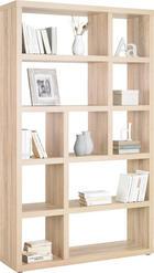 REGÁL - barvy dubu/barvy hliníku, Design, dřevěný materiál/umělá hmota (123/203/35cm)