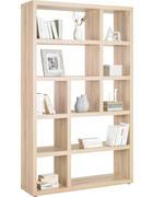 REGÁL, barvy dubu - barvy dubu/barvy hliníku, Design, kompozitní dřevo/umělá hmota (123/203/35cm)