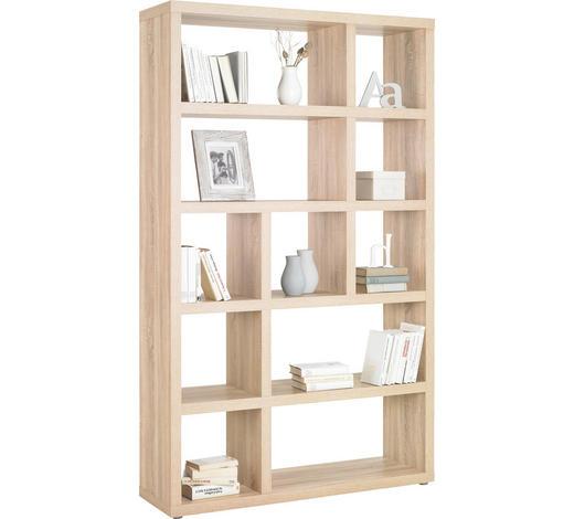 REGAL in Eichefarben - Eichefarben/Alufarben, Design, Holzwerkstoff/Kunststoff (123/203/35cm)