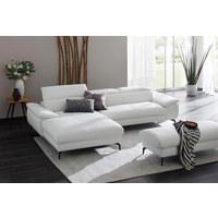 WOHNLANDSCHAFT in Leder Weiß  - Anthrazit/Weiß, Design, Leder (195/297cm) - Chilliano