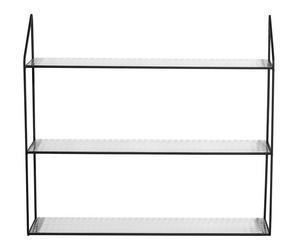 GLASHYLLA - svart/transparent, Modern, metall/glas (60/54/15cm)