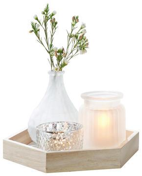LJUSFAT - vit/naturfärgad, Basics, glas/trä (23/20/3cm) - Ambia Home