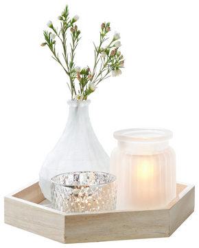 LJUSFAT - vit/naturfärgad, Basics, trä/glas (23/20/3cm) - Ambia Home
