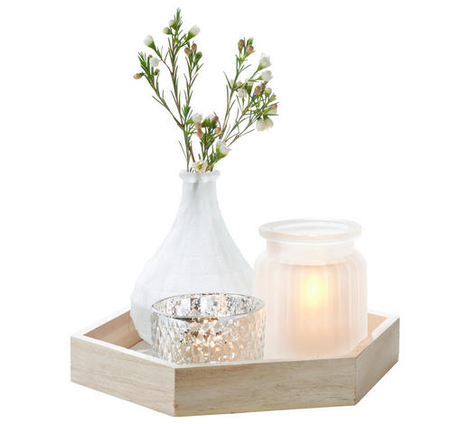 KERZENTELLER - Naturfarben/Weiß, Basics, Glas/Holz (23/20/3cm) - Ambia Home