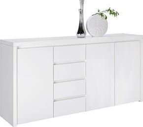 SIDEBOARD - vit/alufärgad, Design, träbaserade material/plast (194/95/45cm) - Voleo