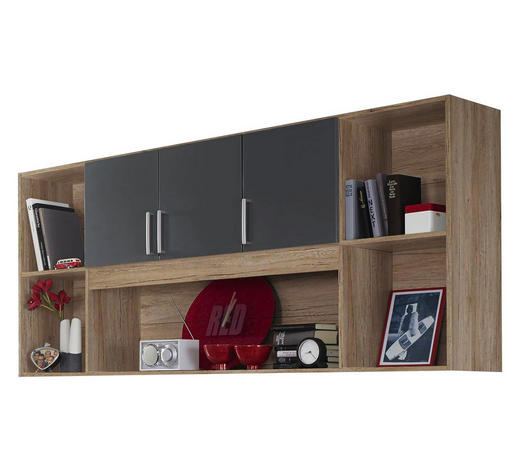 REGAL in 213/82/40 cm Grau, Eichefarben - Eichefarben/Silberfarben, Design, Holzwerkstoff/Kunststoff (213/82/40cm) - Carryhome