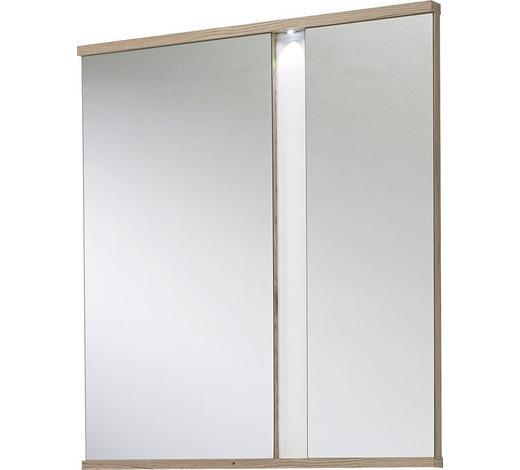 SPIEGEL Weiß, Eichefarben  - Eichefarben/Weiß, Design, Glas (90/100/5cm)