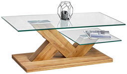 COUCHTISCH Eiche massiv rechteckig Eichefarben, Transparent - Eichefarben/Transparent, Design, Glas/Holz (110/60/44cm) - Linea Natura
