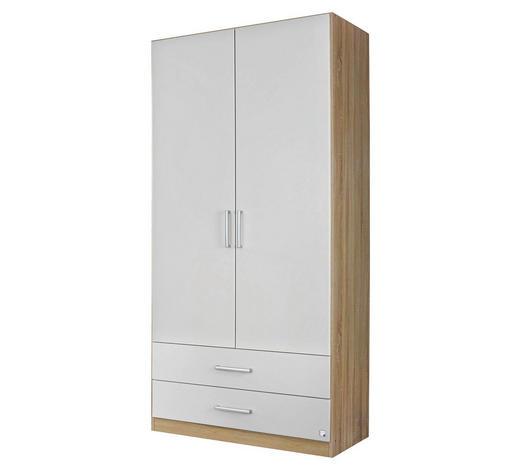 DREHTÜRENSCHRANK in Weiß, Eichefarben - Eichefarben/Silberfarben, Design, Holzwerkstoff/Kunststoff (91/197/54cm) - Carryhome