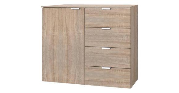 KOMMODE 100/80/42 cm  - Eichefarben/Alufarben, Design, Holzwerkstoff/Metall (100/80/42cm) - Hom`in