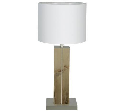 TISCHLEUCHTE - Silberfarben/Weiß, Natur, Holz/Textil (20/41cm)