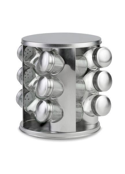 GEWÜRZKARUSSELL - Edelstahlfarben, KONVENTIONELL, Glas/Metall (16,5/19cm)