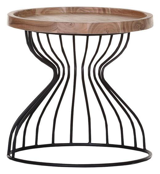 BEISTELLTISCH Akazie massiv Akaziefarben, Schwarz - Schwarz/Akaziefarben, Design, Holz/Metall (50/50cm) - Carryhome
