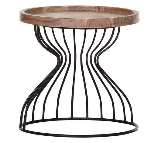 BEISTELLTISCH Akazie massiv Schwarz, Akaziefarben  - Schwarz/Akaziefarben, Design, Holz/Metall (50/50cm) - Carryhome